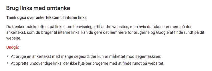 Ankertekst i interne links