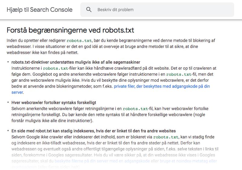 Begrænsninger ved robots.txt