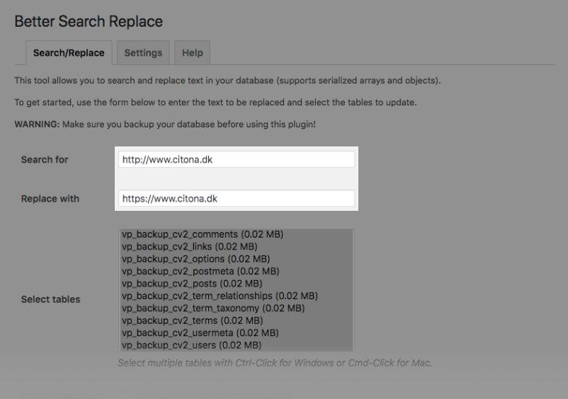 Opdater URL'er fra HTTP til HTTPS med Better Search Replace
