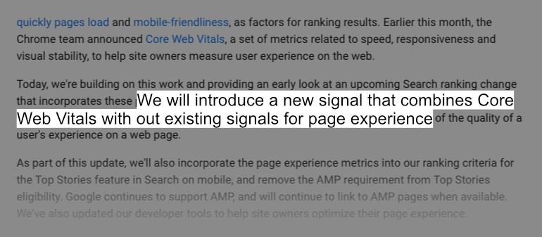Core Web Vitals et Google ranking signal