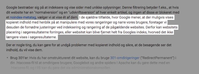 Duplicate content søgemaskinestraf