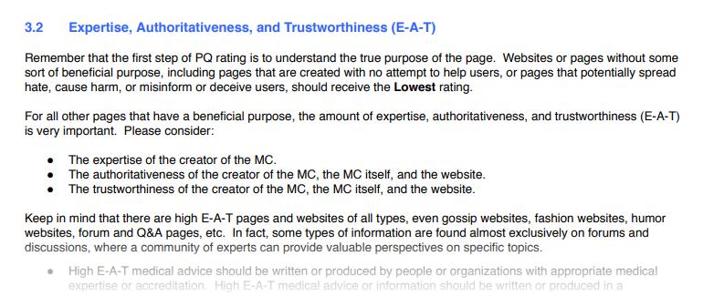 E-A-T: Ekspertise, Autoritet, Troværdighed fra Google Quality Rater Guidelines