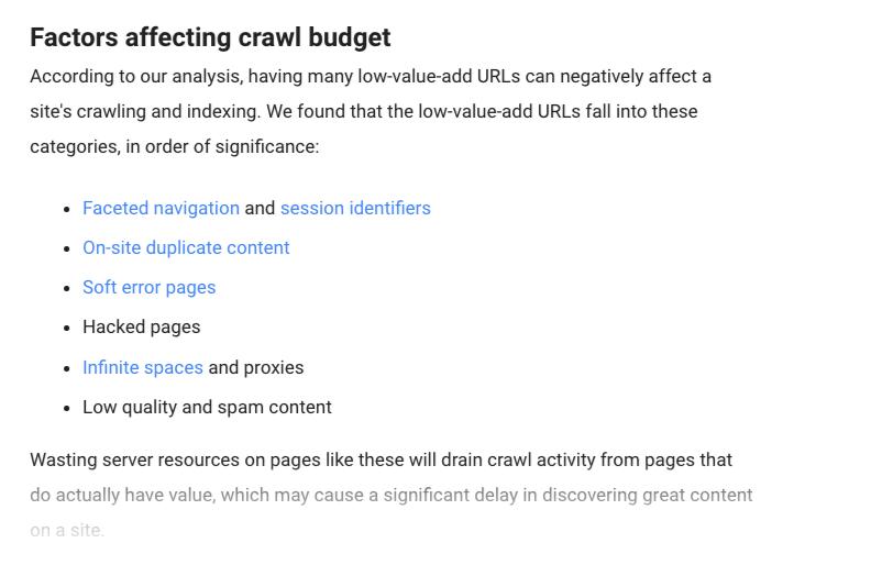 Faktorer der påvirker crawl budget
