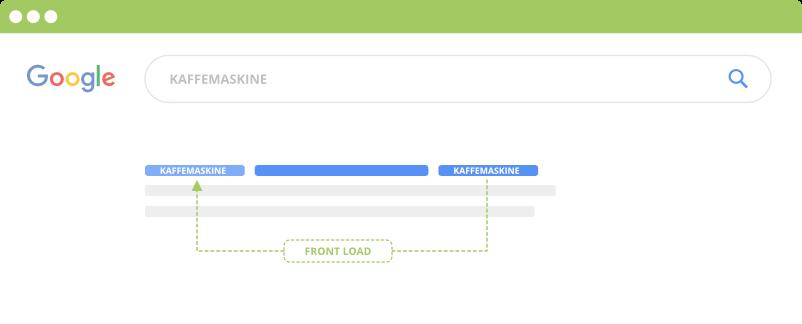 Front-load dit søgeord i Google SERP