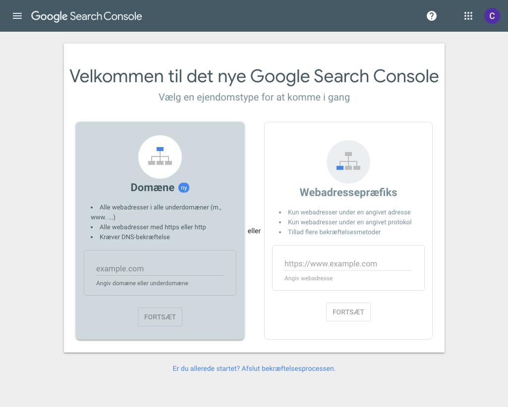Tilføj domæne til Google Search Console