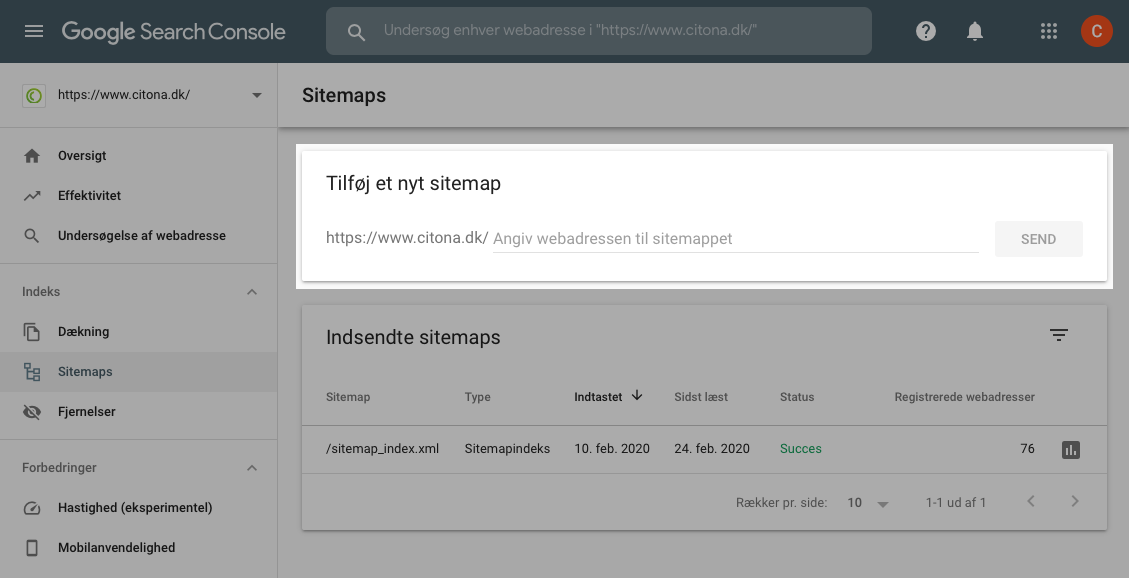 Indsend XML sitemap i Google Search Console