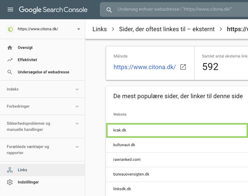 Sider der oftest linkes til i Google Search Console