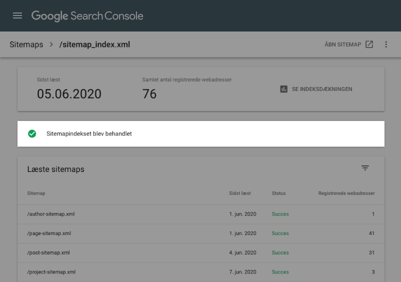 Sitemap behandlet i Google Search Console