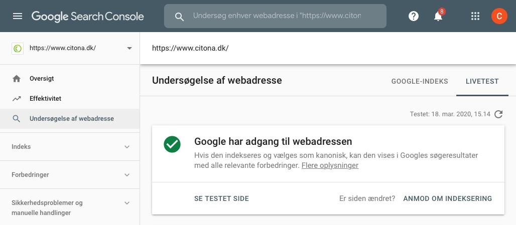 Undersøgelse af webadresse i Google Search Console
