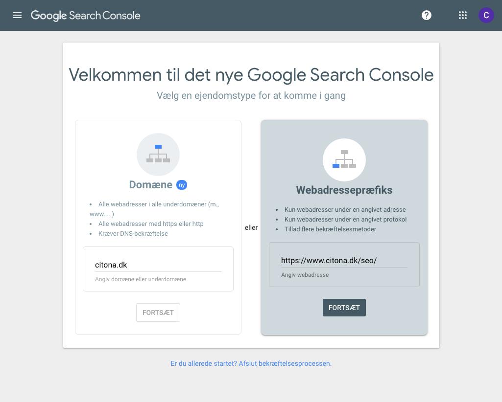 Tilføj webadressepræfiks til Google Search Console