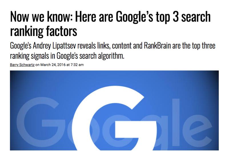 Links, indhold og RankBrain er Googles top 3 ranking signaler.