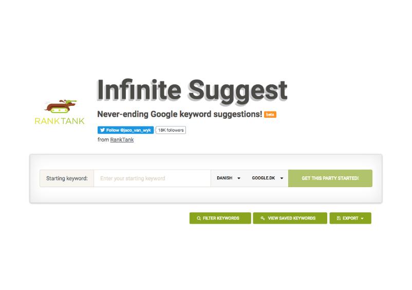 Find søgeord med Infinite Suggest