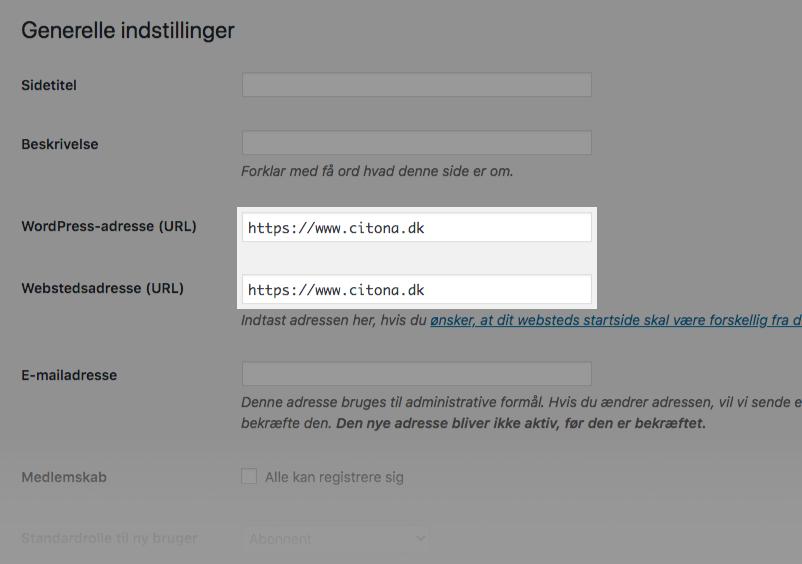 Opdater WordPress adresse til HTTPS