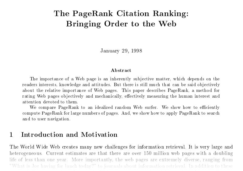 PageRank Citation Ranking