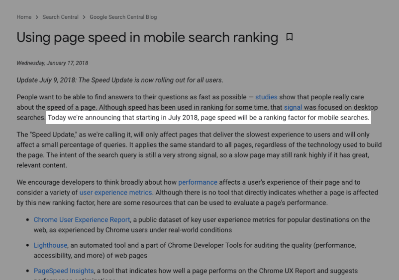 Pagespeed et ranking signal
