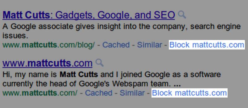 Prompt block website i Google