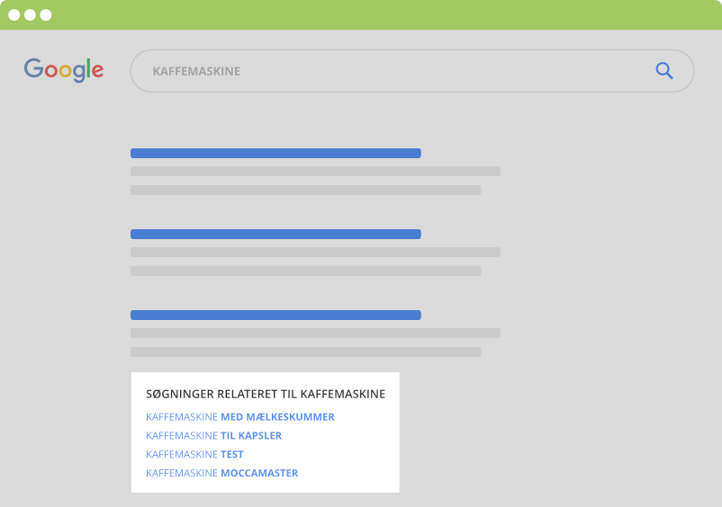 Relateret søgninger i Google SERP - LSI søgeord