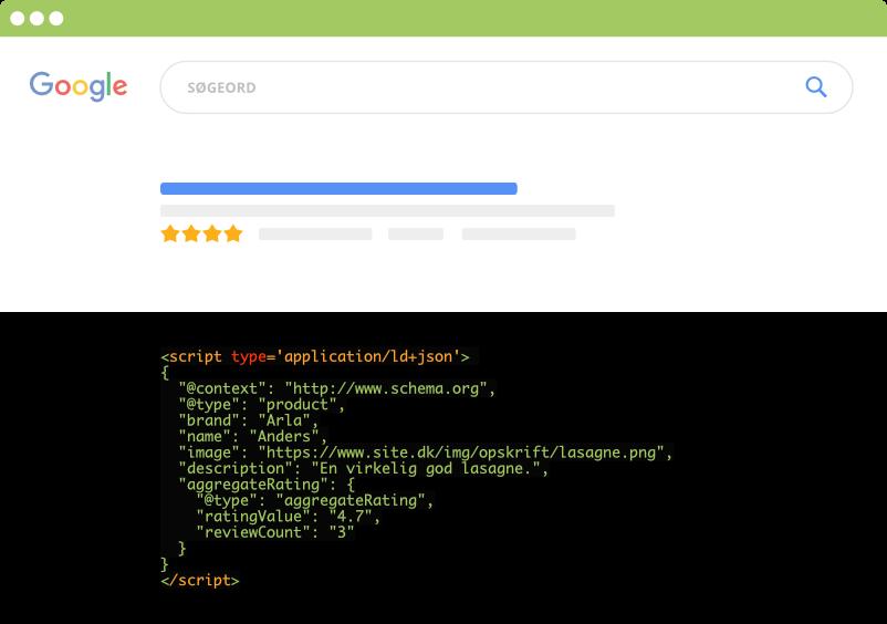 Rich Snippet i Google SERP igennem strukturerede data (JSON)