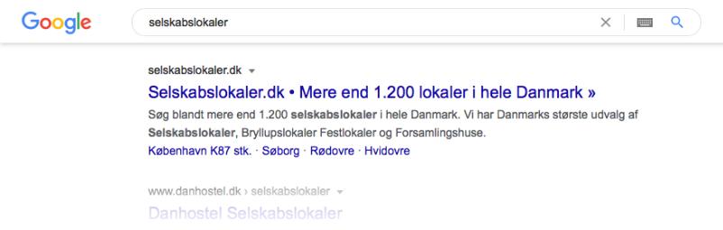 Selskabslokaler i Google SERP