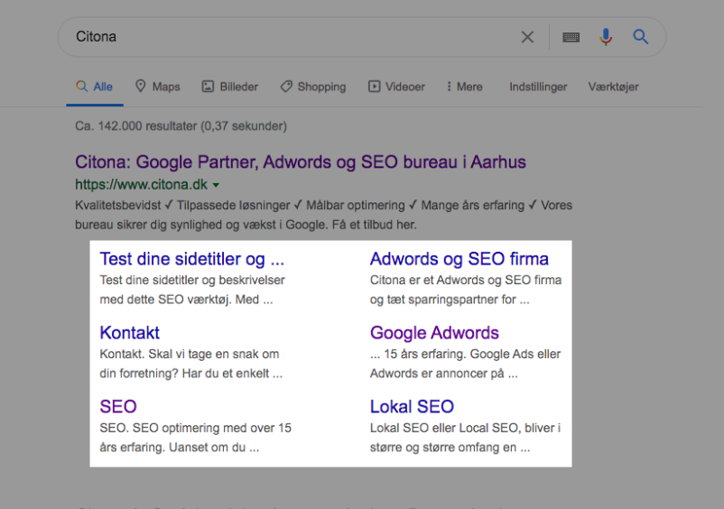 Sitelinks i Google
