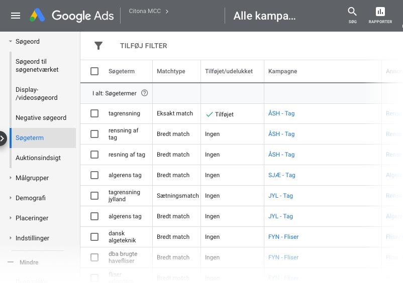 Søgetermer i Google Ads