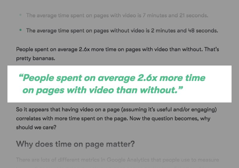 Tilføjede videoer fordobler den gennemsnitlige tid på side