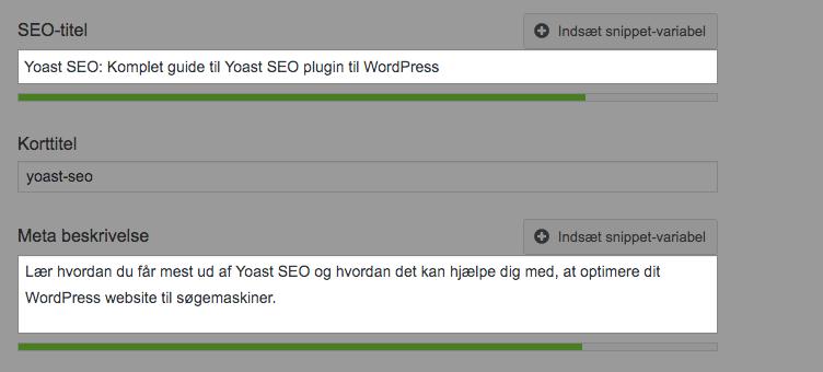 Sidetitel og metabeskrivelse under Yoast Google Preview
