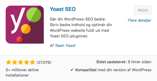 Yoast SEO - installer SEO plugin